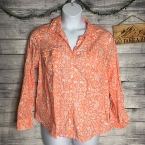 Sonoma Animal Print Peach Button Down Top SZ XL